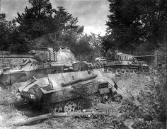 Destroyed armor of 2nd SS 'Das Reich' after their failure against the Americans in Mortain France August 1944