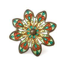 JOHAN G KJAERLAND Plique a jour Enamel Sterling Brooch Antique 1900s Flower Pin Scandinavian Jewelry