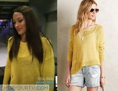 Brie Bella wears this yellow pullover in this week's episode of Total Divas. It is the Anthropologie ribbed linen pullover in gold. Wwe Total Divas, Brie Bella, Yellow Sweater, Diva Fashion, Season 4, Anthropologie, Tv Shows, Pullover, Clothing