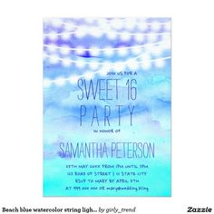 Beach blue watercolor string lights Sweet 16 Card