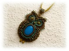 Bead Embroidery - Bead Embroidered Necklace - Owl - OOAK - Turquoise, bronze, green, mustard. $80.00, via Etsy.