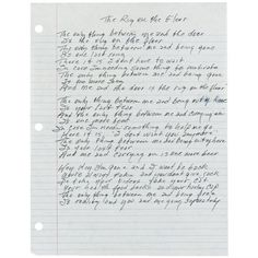 """Handwritten lyrics by Johnny Cash to the song """"The Rug on the Floor."""""""