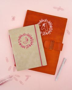 Did you know you can apply heat transfer vinyl to leather? This simple technique is a fun way to customize leather gifts like this DIY monogramed notebook.