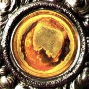 Close-up of the Eucharistic Miracle in Lanciano, Italy.  I saw this up close and personal.  It is incredible!
