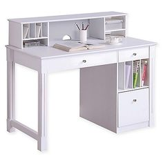 Add an accent of elegance to your home with this Deluxe Wood Computer Desk. In white, this piece features a detachable hutch, drop-down keyboard tray, hanging filing drawer and file slots for storage and function to lend to any room in your home.