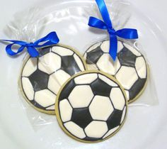 Custom Decorated Gourmet Sugar Cookie Soccer Ball Favors for Boy Birthday Girl Birthday Boy Baby Shower Gender Reveal Party or Sports Theme
