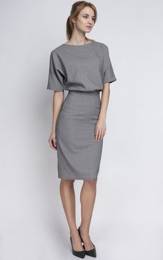 Grey Fitted Midi Dress - SilkFred