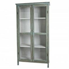Teal Wooden Cabinet with Glass Doors