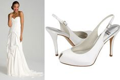 White vs. Ivory: If you have a true white gown, like this gorgeous Nicole Miller Silk Crêpe de Chine Strapless Gown, order your shoe well in advanced to make sure that the whites match exactly.