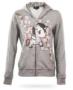 ThinkGeek :: tokidoki Unicorno Ladies' Hoodie - Geisha Unicorn Frolics in the Cherry Blossoms $59.99