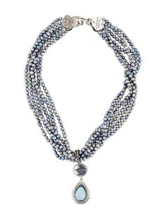 $315.00  Stephen Dweck Blue Topaz, Labradorite and Pearl Multistrand Necklace
