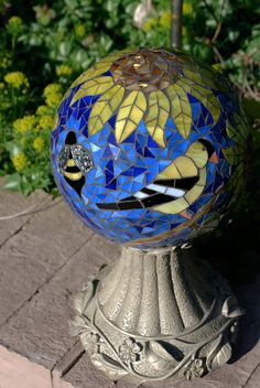 Gazing Ball Goldfinch in the Sunflowers Stained Glass Mosaic Garden Sculpture