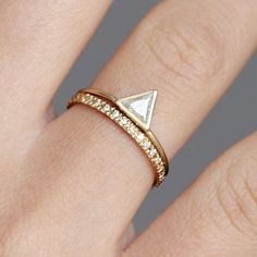 0.25 Carat Trillion Wedding Set with Diamond Eternity by artemer