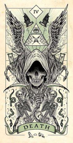 Four Horsemen of Apocalypse Tarot Cards Artwork Released in Higher Quality. – X-Men Films Arte Horror, Horror Art, Dark Fantasy Art, Dark Art, La Muerte Tattoo, Apocalypse Art, Satanic Art, Satanic Tattoos, Arte Obscura