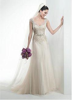 V-neck Waistline A-line Wedding Dress With Beaded Lace Appliques & Beadings & Rhinestones