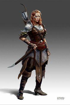 f Wood Elf Ranger noble Med Armor Sword Longbow community forest hills mountains underdark farmland urban city