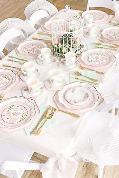 Take a look at the wonderful tea party table settings with shabby chic porcelain at this Minnie Mouse tea party. See more party ideas and share yours at CatchMyParty.com
