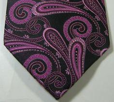 BELISI Rich Black Pink Metallic Paisley RARE Excellent 100% Silk Tie #belisi #NeckTie