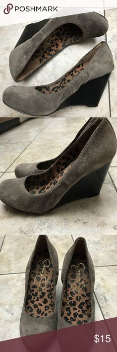Jessica Simpson Wedges Grey in color Gently worn without major flaws  Size 8  Upper leather  3.5 inches Jessica Simpson Shoes