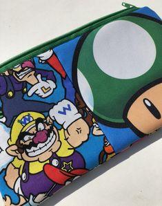Super Mario Brothers Patchwork Zipper Pouch: Videogames, Wario, Waluigi, Yoshi, Princess Peach.