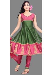 Olive Green and Pink Chanderi Silk Anarkali Style Churidar Kameez