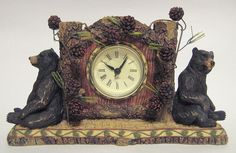 Black Bear and Pine Boughs Quartz Clock #Unknown #Lodge