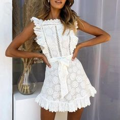 05917fa7d0821 Stylish Vibes Only With The Embroidery Laced Dress👗😉 Free Shipping World  Wide🌎 Money