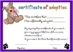 Toy Adoption Certificate Template : 13+ Free Word Templates within New Toy Adoption Certificate Template – Amazing Certificate Template Ideas Free Gift Certificate Template, Printable Certificates, Certificate Programs, Award Certificates, Free Pet Adoption, Animal Adoption, Best Templates, Word Templates, Adoption Certificate
