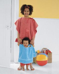 Towel Poncho How-to-- Great for the whole family.