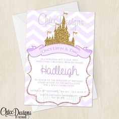 Princess Birthday Party Invitation - Purple & Gold - Glitter - Once Upon A Time - Royal Party - Invitation - Digital/Printable File - pinned by pin4etsy.com
