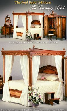 The Canopy Bed by The Ferd Sobol Editions exudes feminine charm in miniature 1/12th scale. The canopy has carved scrolling vines and the footboard and headboard have gorgeous inlays, all topped with five fabulous urn finials. Want to delight your eyes? See more at: www.SobolEditions.com  www.TheSobolEditions.blogspot.com