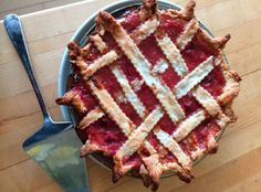 Kathy Gunst's rhubarb and strawberry pie is only lightly sweetened, with a bit of sugar, vanilla and strawberries. (Kathy Gunst)