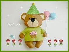 felt bear, birthday bear, osito de fieltro #lohiceyo