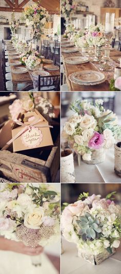 Vintage Gathering Wedding Flowers love the color pallette, the clear glass, the chrome or silver. I love the succulents with the flowers. Not a big fan of roses but with hydrangea? Chic Wedding, Wedding Table, Perfect Wedding, Rustic Wedding, Our Wedding, Dream Wedding, Wedding Blog, Wedding Colors, Wedding Styles