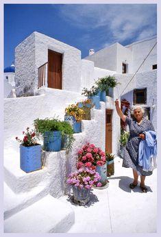 Greek Yiayia's laundry day in Pygros, Greece