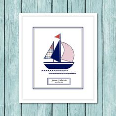 "PERSONALIZED  Sailboat  print.  Coordinates with The Pottery Barn Kids, ""Harper Boat"" or ""Hampton Boat"" bedding.  Digital print. red, blue"