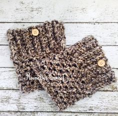 Chunky Boot Cuffs Aran Brown Black Boot Socks by MoomettesCrochet