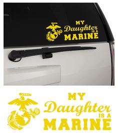 My Daughter is a Marine USMC Matte Removable Indoor/Outdoor Vinyl Decal Sticker, MultiPurpose - For Your Auto, Wall, Window and More!  Purchase this product along with all of our other spectacular decals through one of the following links:   https://www.etsy.com/shop/MiaBellaDesignsWI  http://www.amazon.com/s?marketplaceID=ATVPDKIKX0DER&me=A2MSEOIVL689S1&merchant=A2MSEOIVL689S1&redirect=true
