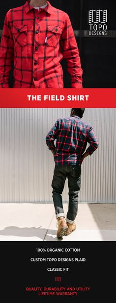 The Field Shirt- your go-to pick when you need a plaid shirt for Fall. Casual button-up in 2 custom Topo Designs plaid designs.