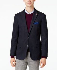 Ben Sherman Men's Slim-Fit Blue Denim Sport Coat with Detachable Black Bib - Blue 44S