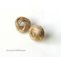Nautical Rope Earrings Vintage Earrings Drop Gold by MsBsDesigns, $26.00