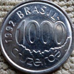 moedas brasileiras - 1000 cruzeiros 1992 - verso Acará Army Branches, Coins Worth Money, Foreign Coins, Coin Worth, Rare Coins, Fountain Pen, Stamp, Brazil, Coining