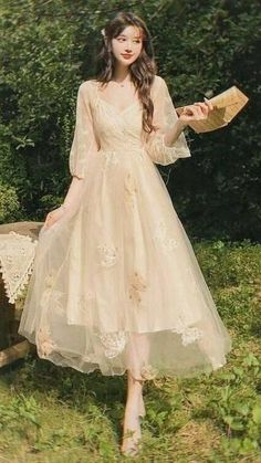 Pretty Outfits, Pretty Dresses, Beautiful Outfits, Fairytale Dress, Fairy Dress, Korean Fashion Dress, Fashion Dresses, Ball Dresses, Ball Gowns