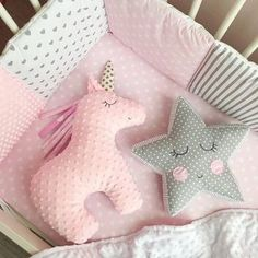 Sewing Projects For Baby - Einhorn und Stern Baby Sewing Projects, Sewing For Kids, Diy For Kids, Sewing Ideas, Diy Projects, Cute Pillows, Baby Pillows, Throw Pillows, Pillow Beds