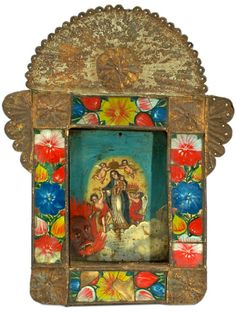 Shop paintings and other wall décor and wall art from the world's best furniture dealers. Fiery Dragon, Faith Crafts, San Francisco Design, Colonial Art, Spiritual Images, Tin Art, Mexican Folk Art, Mexican Crafts, Arte Popular
