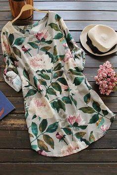 Floral Long Sleeve Linen Blouse Dress - Floral One Size Linen Blouse, Blouse Dress, Plaid Dress, Linen Shirts, Blouse En Lin, Dress Outfits, Casual Dresses, Women's Dresses, Ladies Dresses