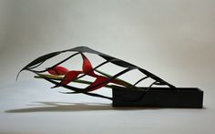 Heliconia with manipulated ti leaf