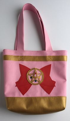 Sailor Moon vinyl totebag by FlatCatShop on Etsy Sailor Moon, Pink And Gold, Tote Bag, Bags, Etsy, Handbags, Carry Bag, Taschen, Sailor Moons