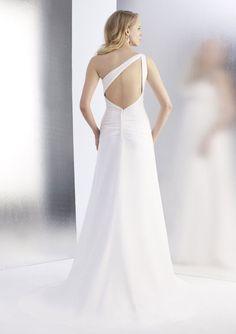 A-Line One-Shoulder Sweep Trailing Chiffon Beach Wedding Dresses