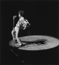 Jimi Hendrix photographed on stage by Dominique Tarlé